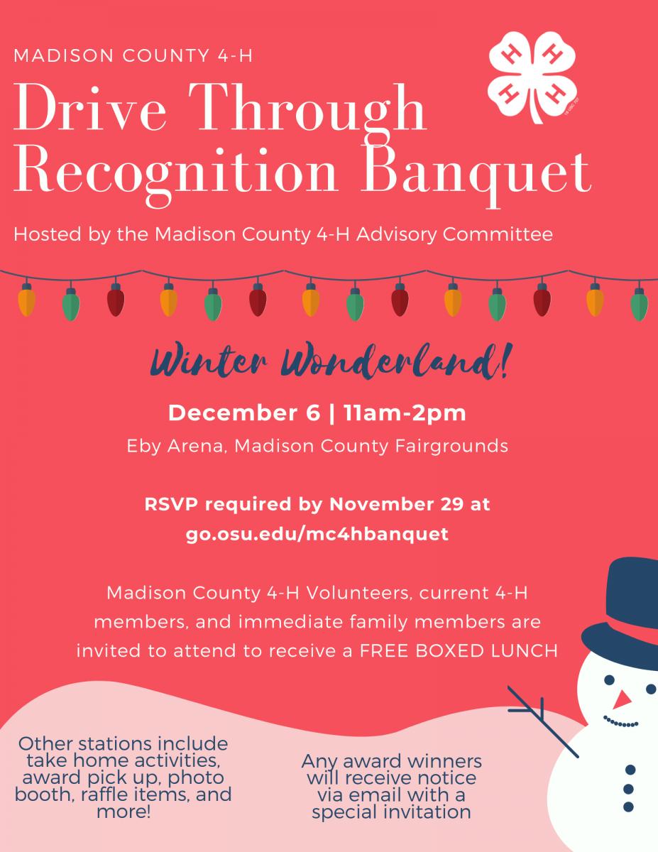 4-H Drive Through Recognition Banquet Flyer